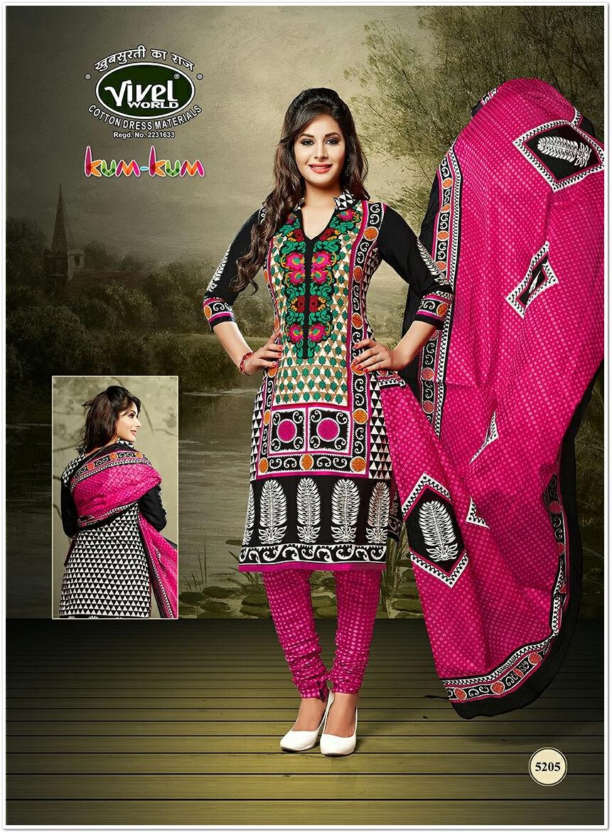 Vivel Kumkum Printed Cotton Dress Material