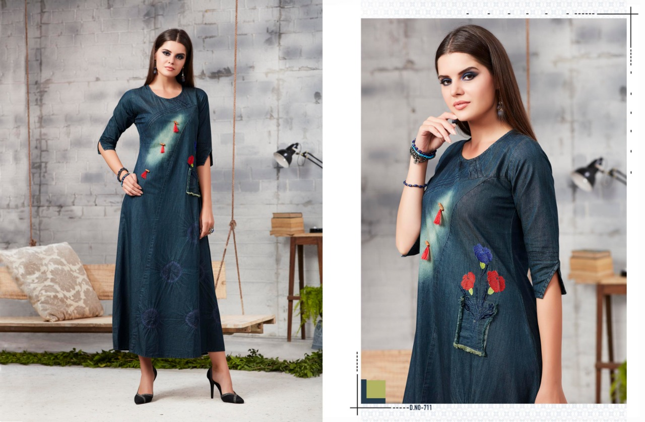 Kajree Blue Lee Denim Kurtis