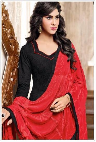 Rangeen Cotton Satin Jacquard Salwar Suit