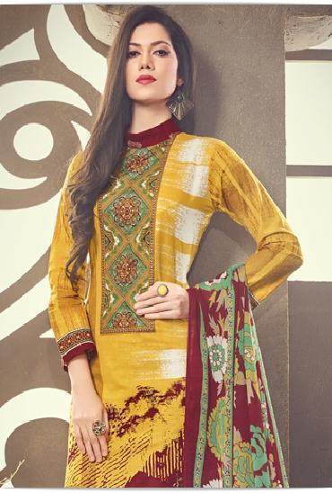 Roja Printed Cotton Dress Material With Chiffon Dupatta