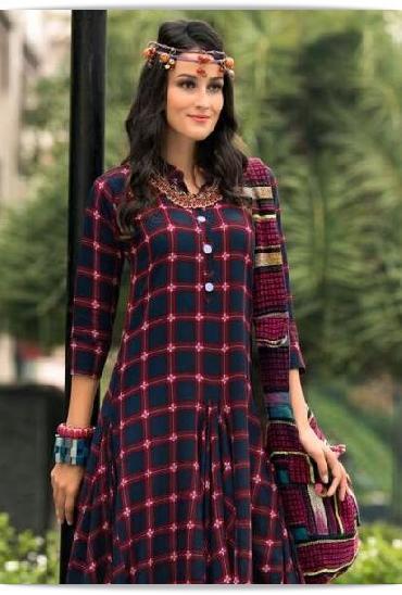 Sawan Jenny Checks Style Rayon Designer Kurtis