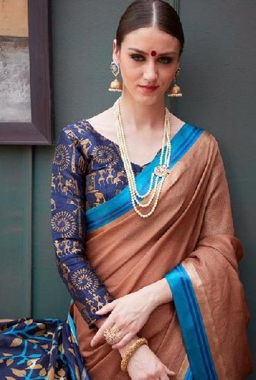 SVA Tradition Linens Check Weaving  Saree